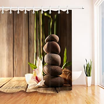 Zen Massage Stone Orchid Bamboo Rustic Wood Plank Stall Shower Curtain By  LB, Relaxing Meditation