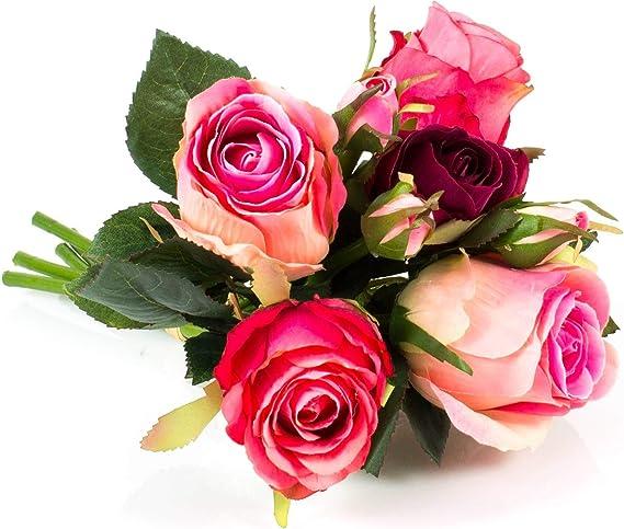 10 x Rose Fuchsia Rose Vif coccinelle Boutons Tige Boutons Nouveauté BOUTONS 15 mm