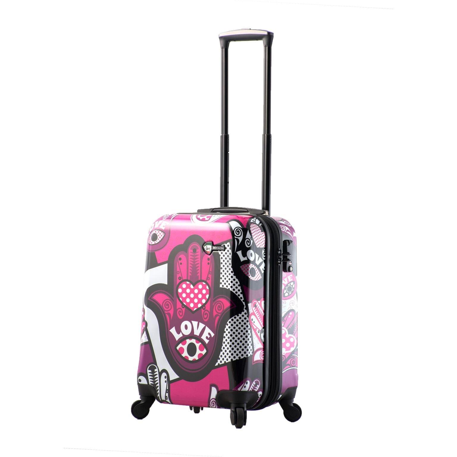 Mia Toro Italy Hamsa Love Monochrome Hard Side Spinner Luggage 20'' Carry-on, Pink