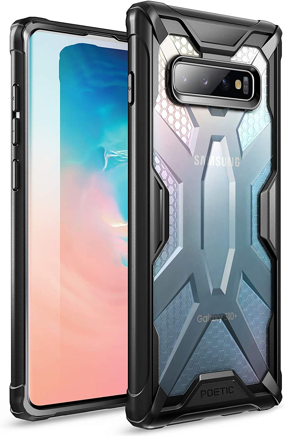 Poetic Galaxy S10 Plus Case, Premium Hybrid Protective Clear Bumper Cover, Rugged Lightweight, Military Grade Drop Tested, Affinity Series, for Samsung Galaxy S10 Plus 6.4 Inch (2019), Frost/Black