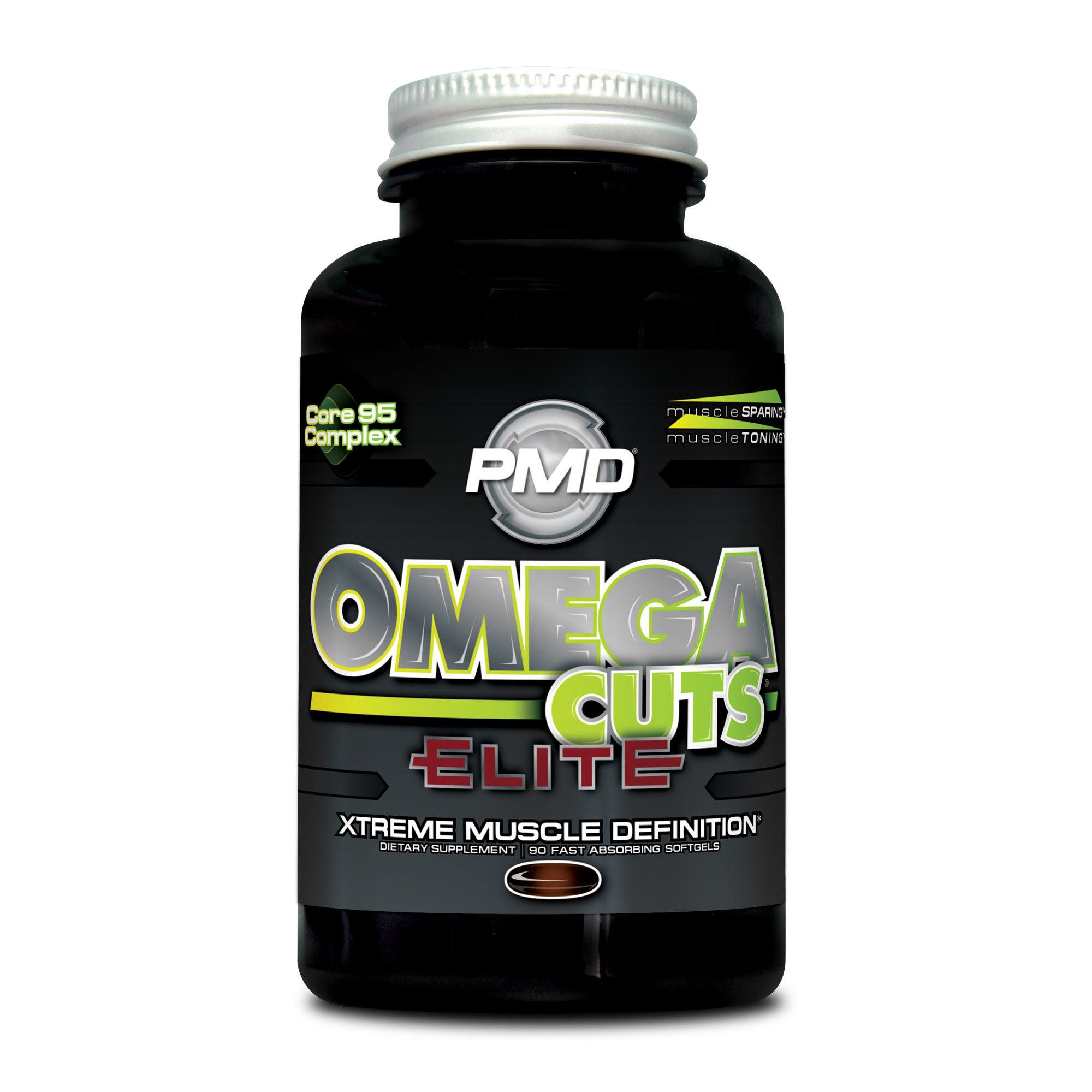 PMD Sports Omega Cuts Elite Zero Stimulant, Maximum Strength MCT, CLA and Omega Fatty Acid Complex Formula for Muscle Definition and Maintenance - 90 Softgels