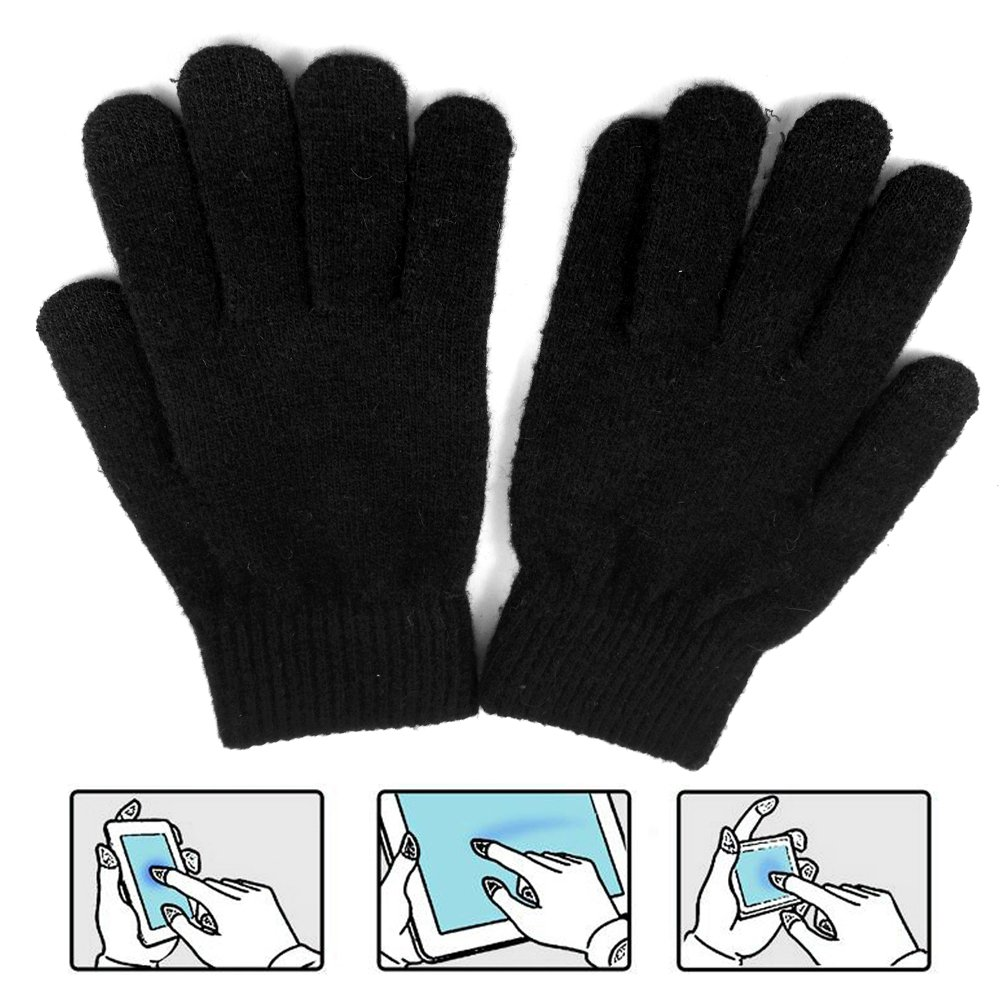 LOCOMO Men Women Touch Screen Knit Gloves Pure Color FAF044BLK Black