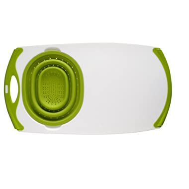 Dexas Over-The-Sink Strainer Grippboard Cutting Board and Strainer, White and Green