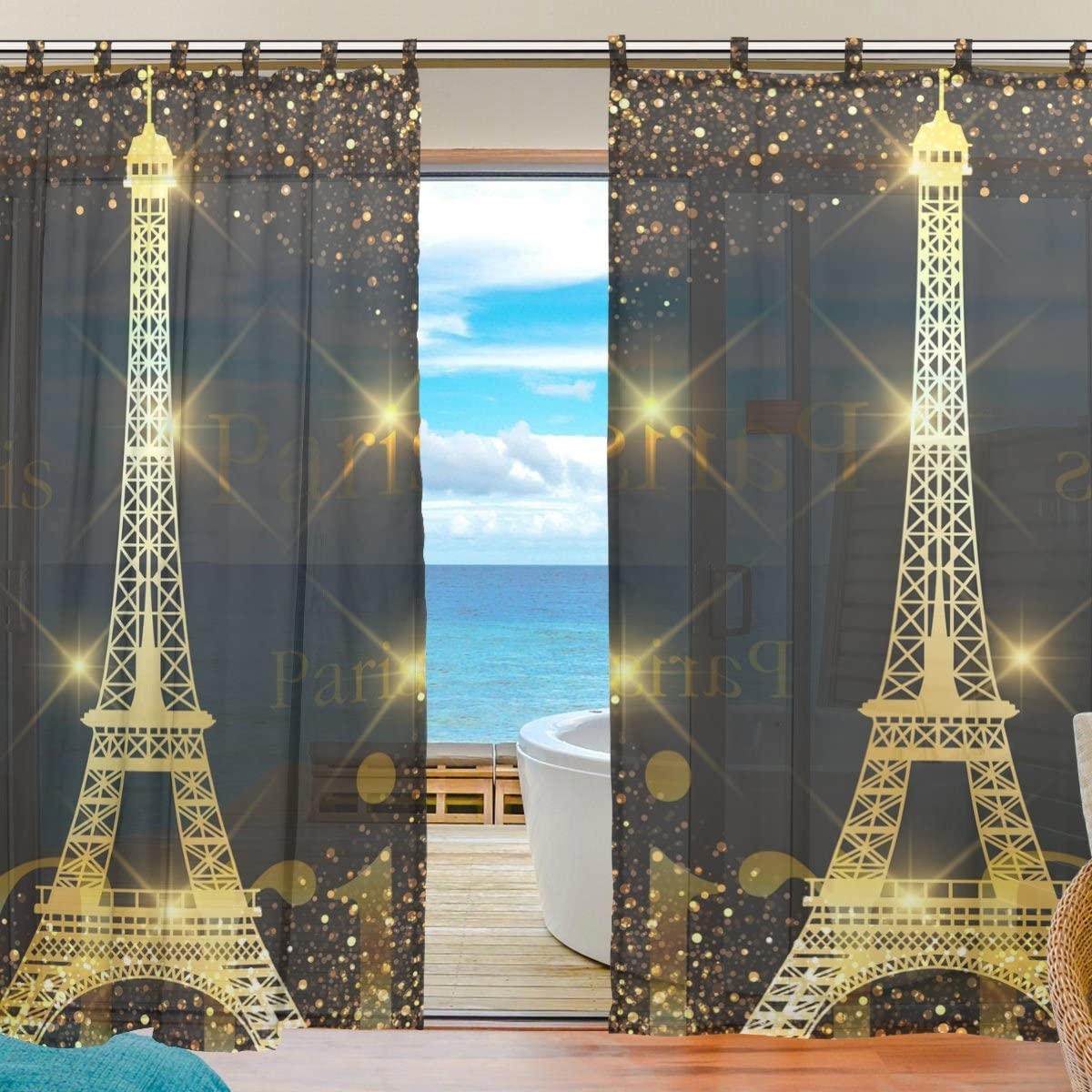 ALAZA Paris Gold Eiffel Tower Window Sheer Voile Curtains for Living Room Bedroom Kids Room Curtains Polyester 55 Wx78 L Per Panel Set of 2 Panels