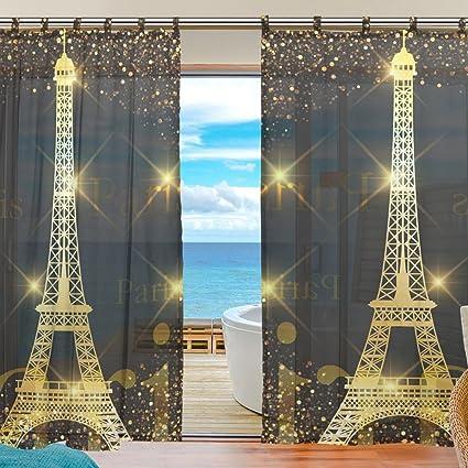 La Random Paris Gold Eiffel Tower Window Sheer Voile Curtains For Living  Room Bedroom Kids Room