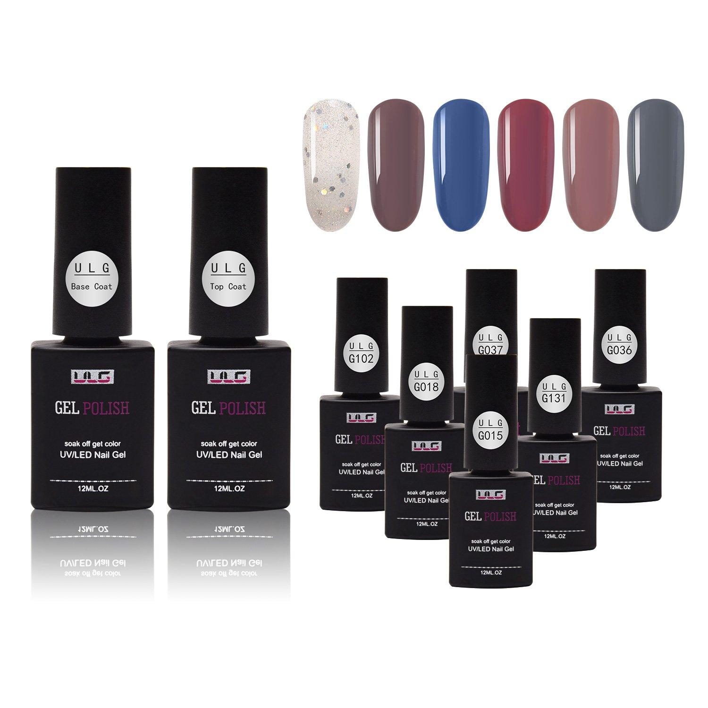 ULG Gel Nail Polish Soak Off UV LED Nail Varnish 6 Colors 1 Top Coat 1 Base Coat 12ml 0.4oz nail enamel