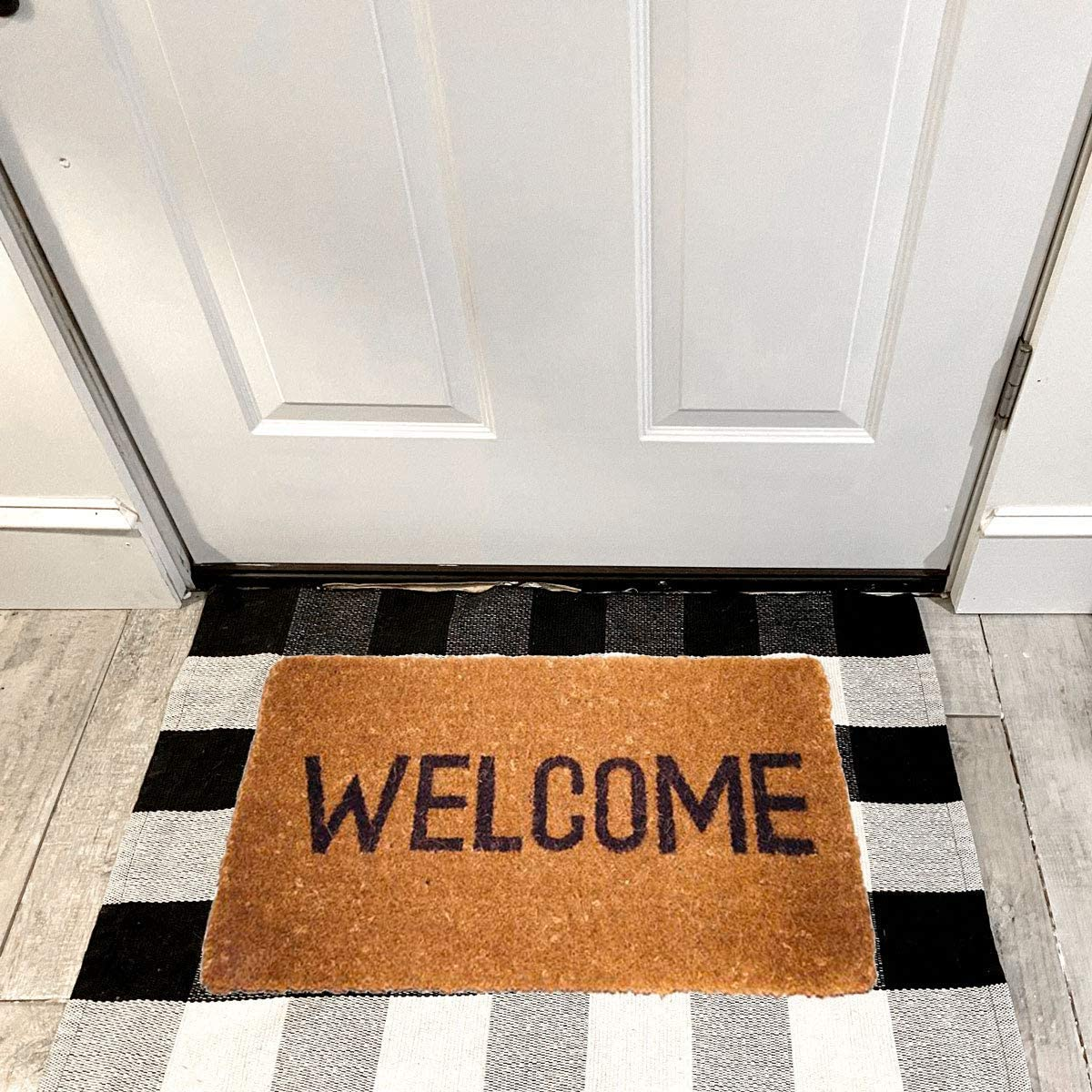 Southern Marketplace Cotton Buffalo Plaid Check Rug 35.5 x 59 Washable Woven Outdoor Rugs for Layered Door Mats Porch Kitchen Farmhouse Black and White