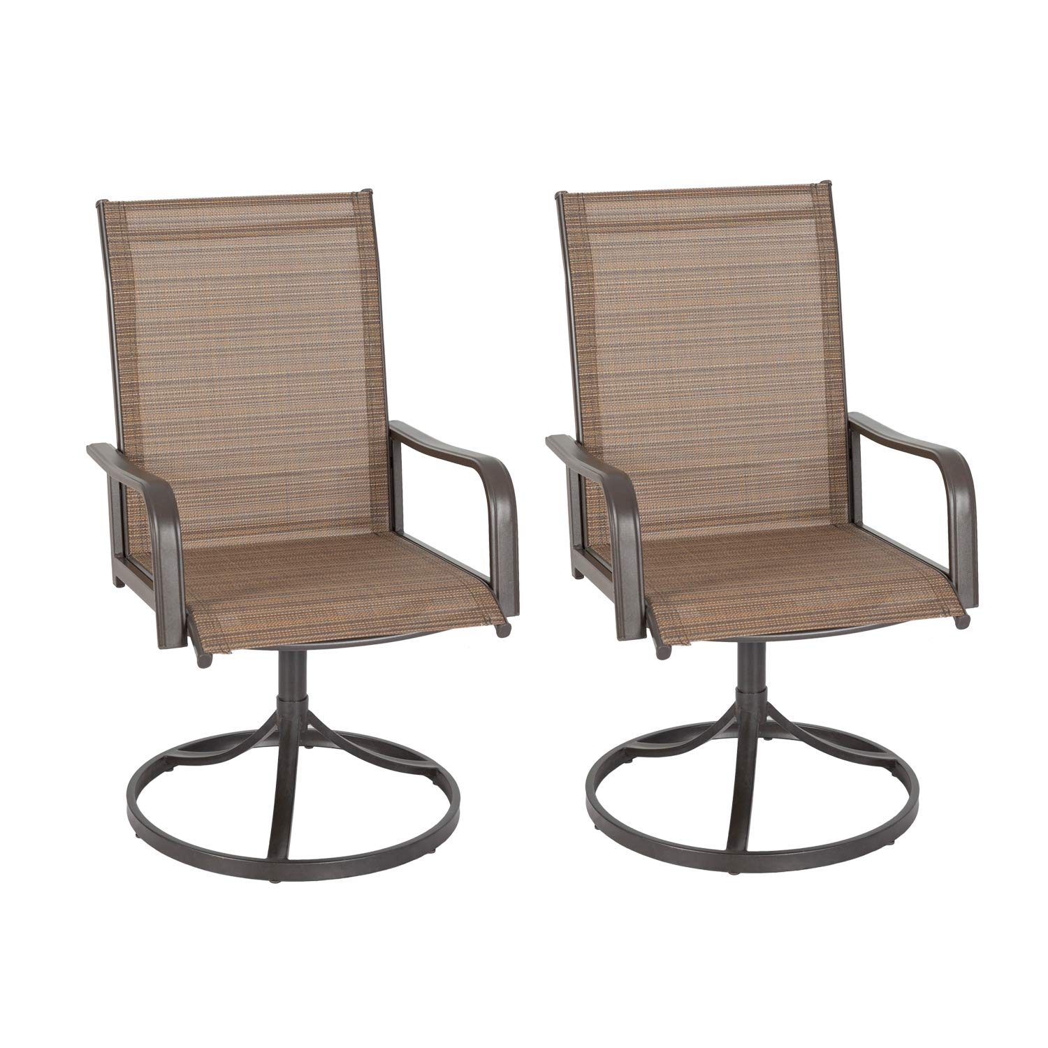 Ulax furniture Outdoor Patio Steel Swivel Dining Chair(s) with Sling Seat Set of 2 by Ulax furniture