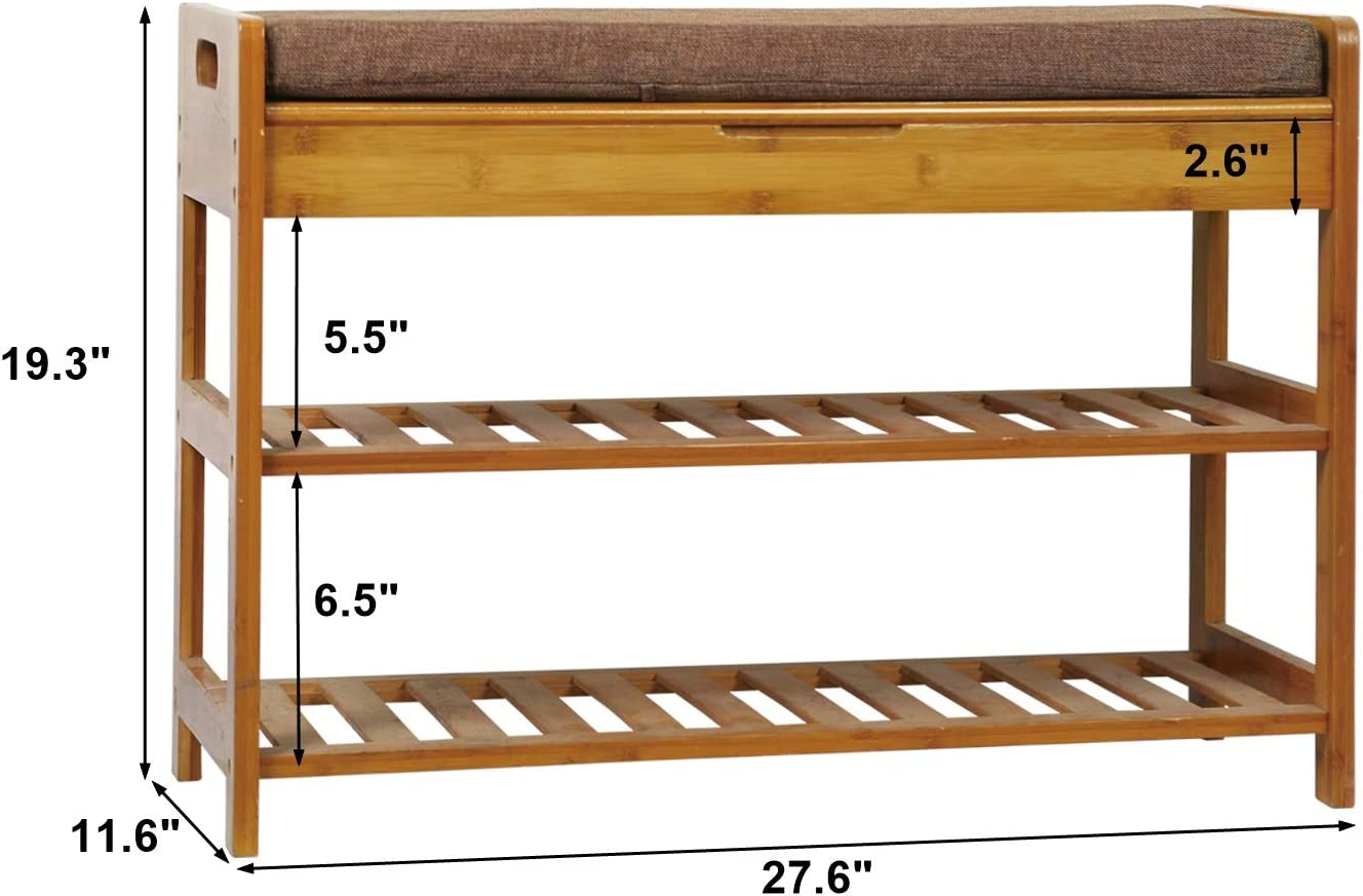 Bamboo Storage Shelf Holds up to 260LBS Entryway Shoe Organizer 27.6 L x 11.6 W x 19.3 H Modern Stool with Cushion for Hallway Bathroom Living Room Brown C/&AHOME 3-Tier Shoe Rack Bench
