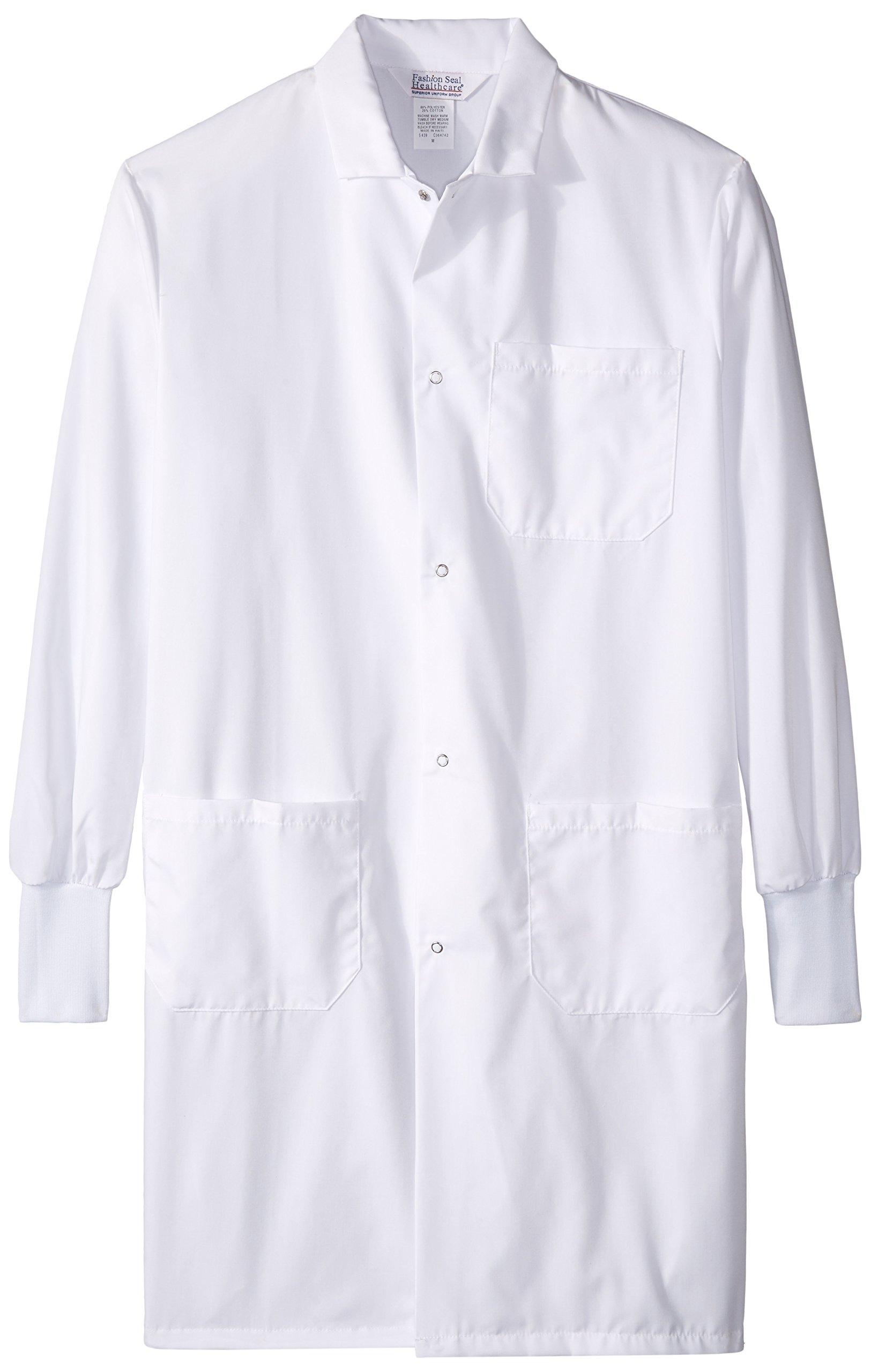 Worklon 439M Polyester/Cotton Lab Coats with Convertible Collar, 41'' Length, Medium, White