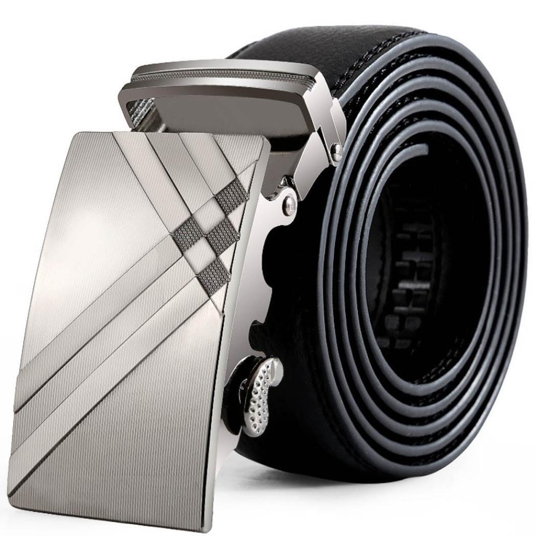 Belt For Men,Vcenty Mens Leather Belt Sliding Buckle Slide Ratchet Belt Black