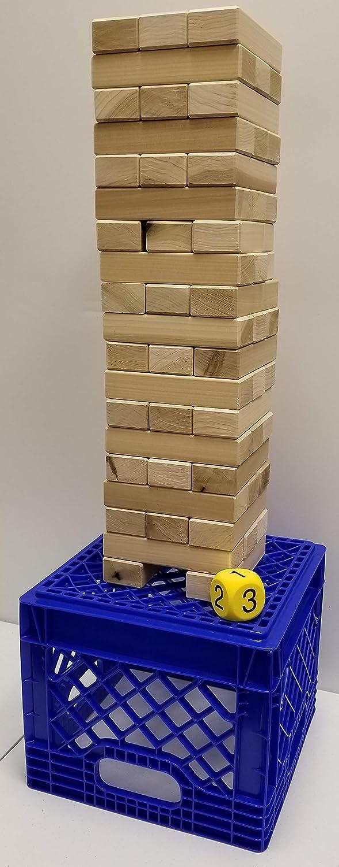 本物の硬材ジャイアントタンブリングスタッキングティンバーゲーム ストレージクレート付き - アメリカ製
