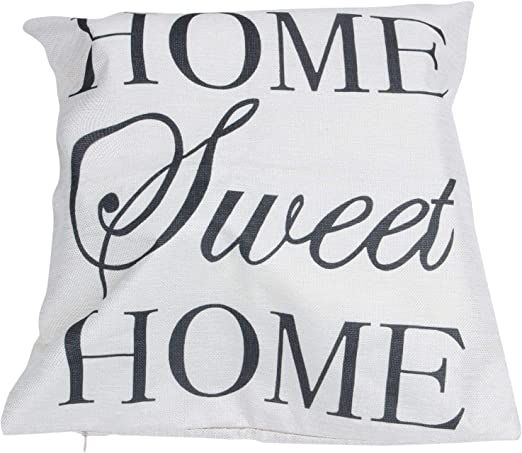 Gaoominy Decoraci/ón De Casa Funda De Almohada Cubierta De Almohada para Abrazar Coj/ín Inclinado Lino Palabra Letra: Home Sweet Home