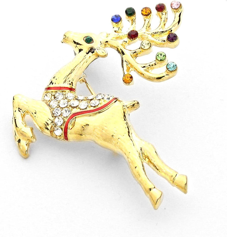 AZFJBR120-GMU-CHR CHRISTMAS Crystal Rudolph Reindeer Brooch