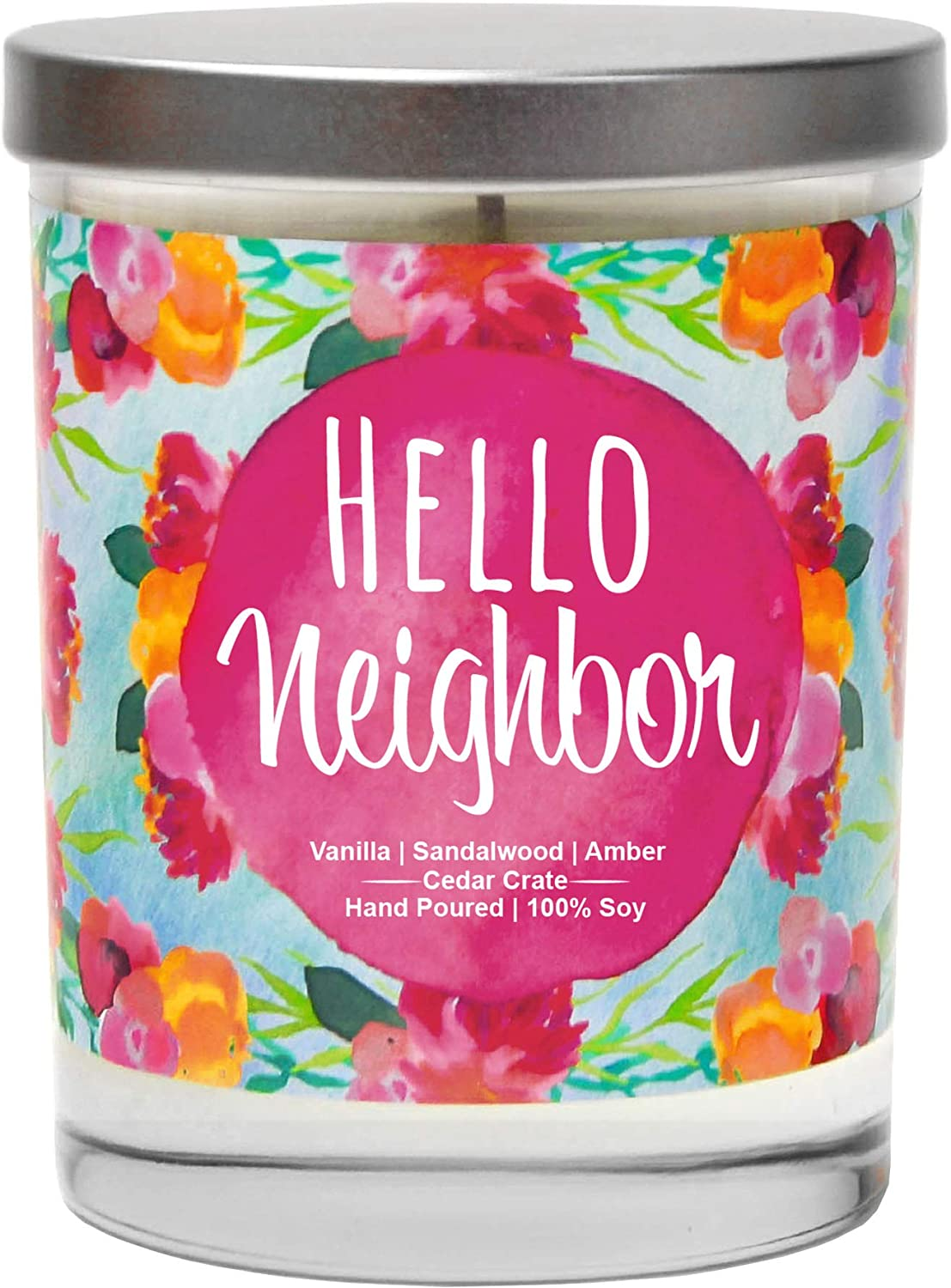 Hello Neighbor, Vanilla, Sandalwood, Amber, Scented Soy Candles,10 Oz. Jar Candle, Poured in USA, Decorative Aromatherapy, Housewarming Gifts for New Home