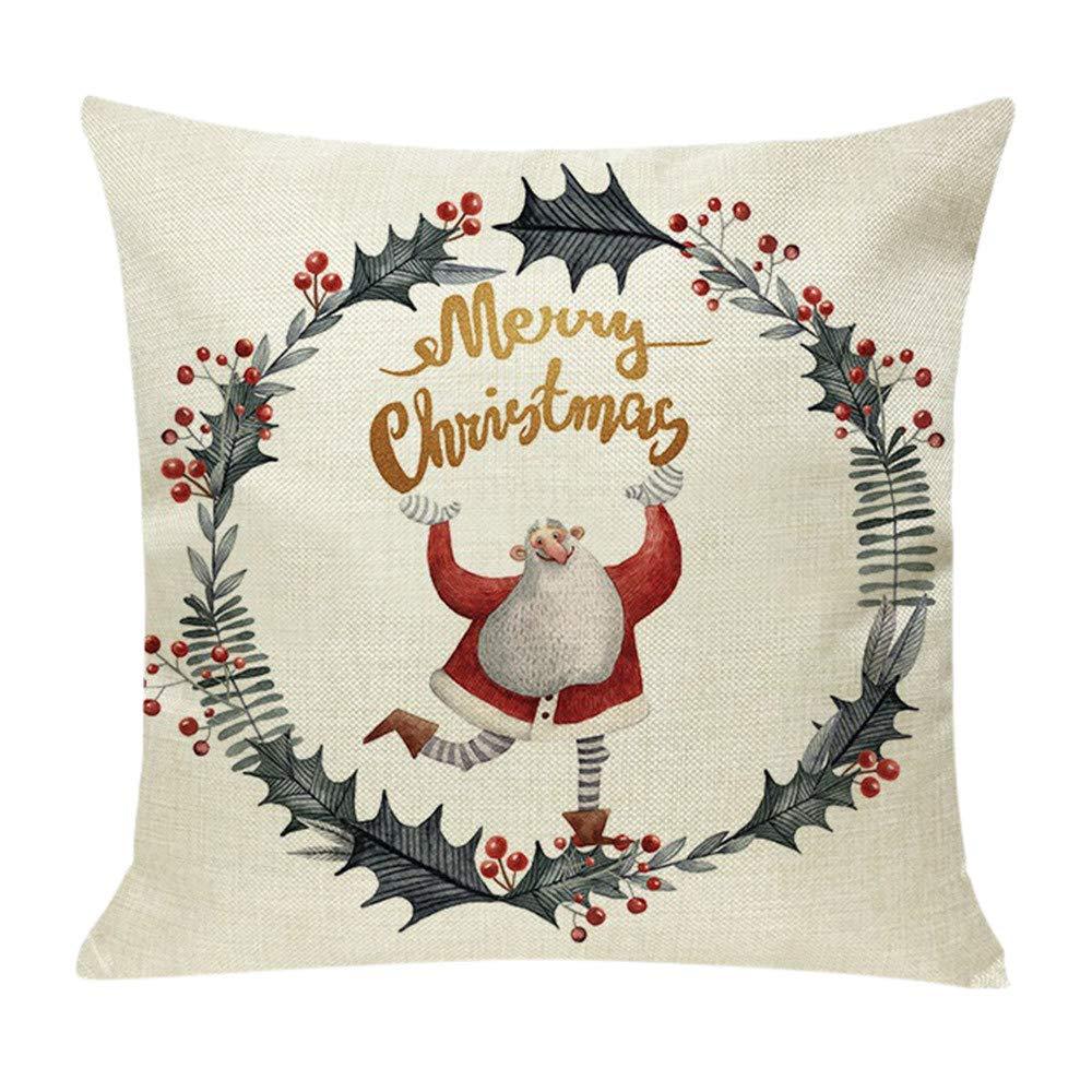 Pgojuni Cotton Linen Christmas Cushion Cover Square Pillow Case Decor Pillow Cases Sofa Cushion Cover 1pc (E)