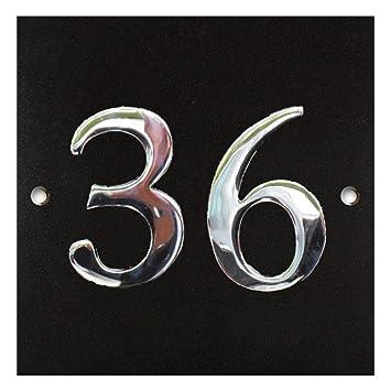 Numbers & Names by Atlantic Hardware Placa Grande de Granito Negro y Cromo para número de