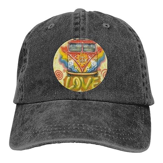 49e53336a85b17 Peace Love Hippie VW Bus Print Vintage Cool Men & Women Adjustable Jeans  Dad Hat Cotton Baseball Cap Black at Amazon Men's Clothing store: