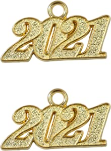 Ruwado 2 Pcs 2021 Year Signet Pendant Metal Gold 1.4 Inch Charm Accessories for DIY Bracelet Necklace Jewelry Making Finding Keychain Zipper Craft Art Christmas Graduation Gift Décor