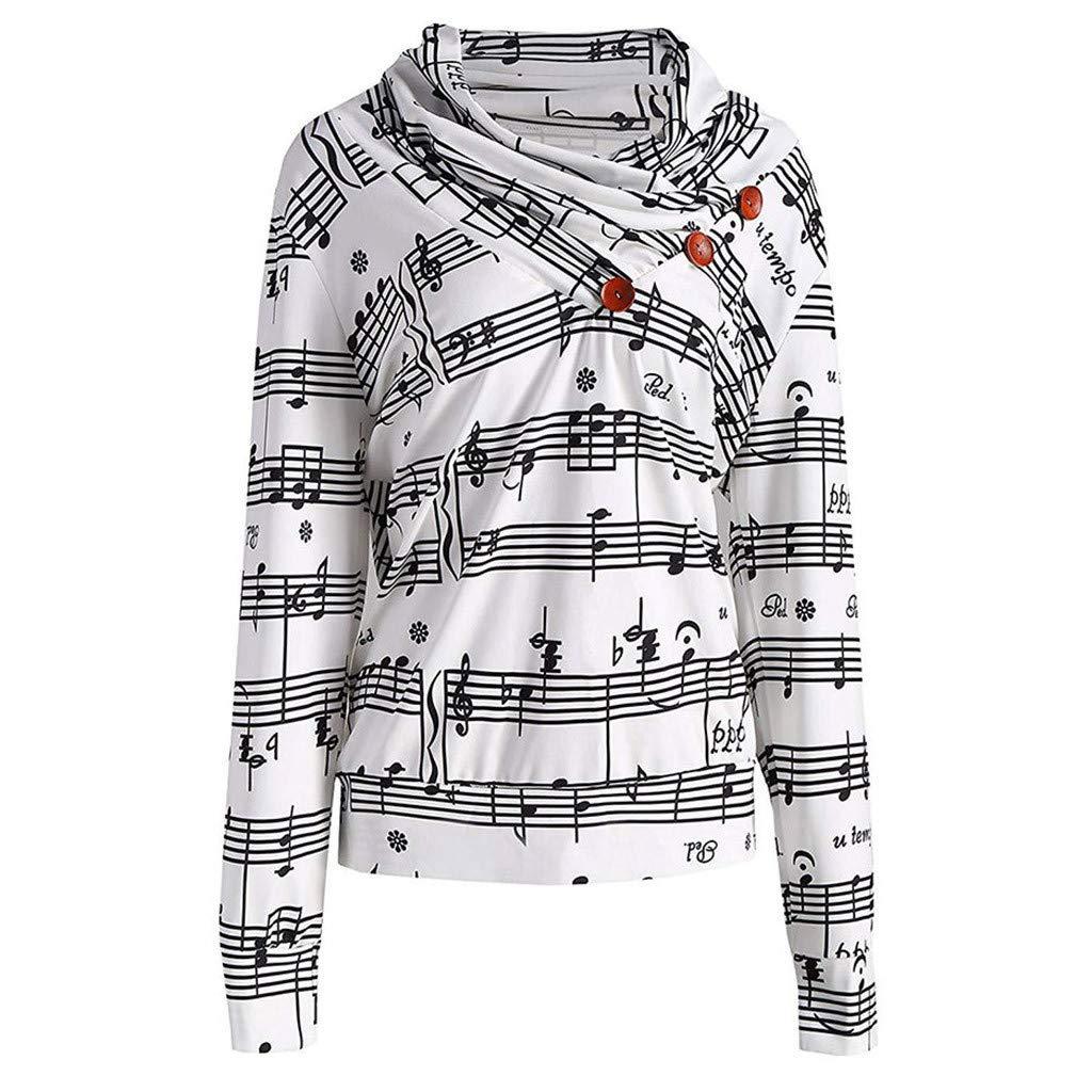 FEDULK Womens Tunic Tops Sweatshirt Music Note Print Button Long Sleeve Blouse Colorful Shirt Pullover