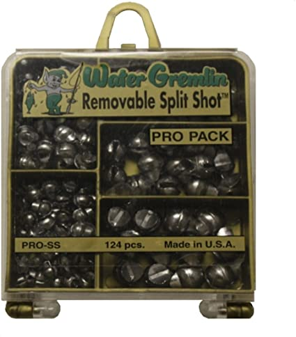 Removable Split Shot Pro Fishing Pack Of 124 Pcs 5 Variety of Weights USA Made