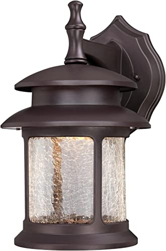 Westinghouse 6400400 LED Exterior Wall Lantern, Oil Rubbed Bronze Finish on Cast Aluminum with Crackle Glass