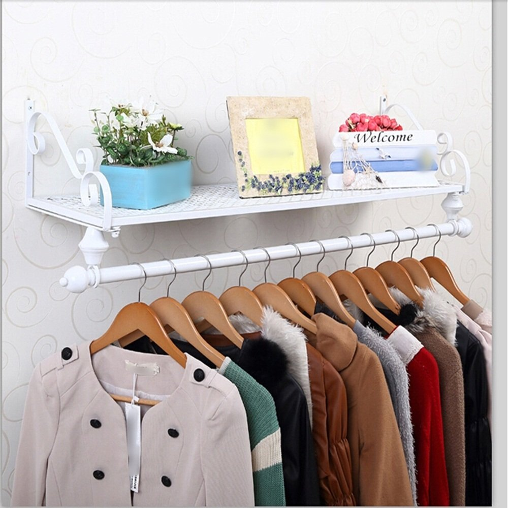 Iron clothing racks / clothing store shelves / display stand / wall shelves rack / wall hanging on the wall hangers / coat racks / clothes drying clothes rack ( Color : White , Size : 10028cm )
