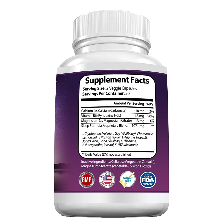 Amazon.com: Natural Sleep Aid Formula with Melatonin, 5-HTP, GABA ...