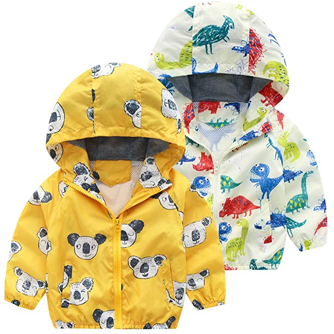 Banibear Toddler /& Baby Boys Hooded Dinosaur Windbreaker Jacket Outerwear