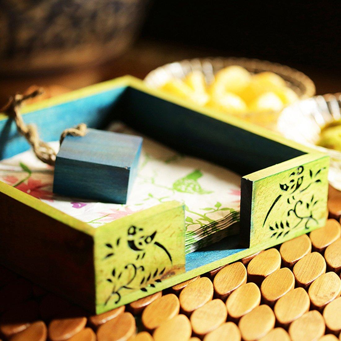 ExclusiveLane Wooden Floral Leaf Design Napkin Holder -Napkin Rings Holder For Kitchen Table Tissue Paper Holder Stand For Table Top