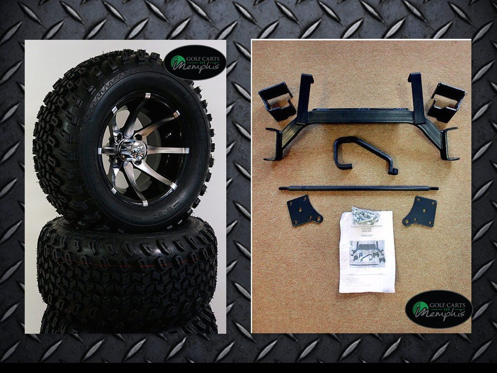 EZGO TXT Electric Golf Cart 2001-Newer 6'' Lift Kit + 12'' Wheels and 23'' All Terrain Tires (4) by Golf Cart Tire Supply (Image #3)