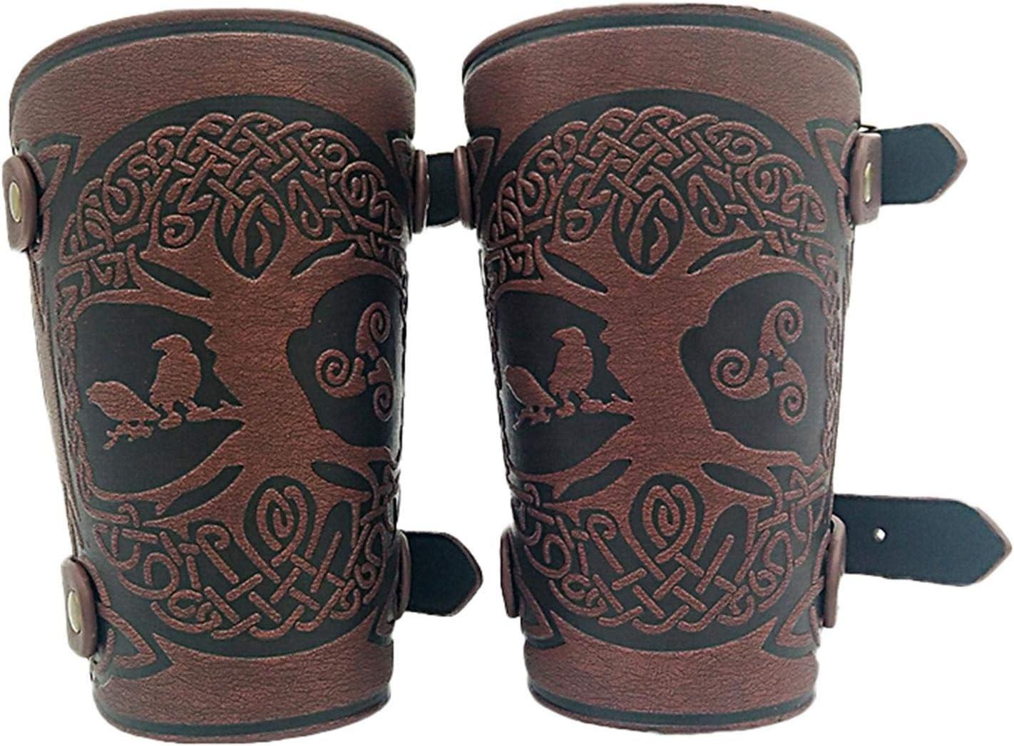 Protector de brazo de tiro con arco, protectores de antebrazo, manga de disparo, cuero ajustable completo del antebrazo, muñequera de cuero unisex (1 par)