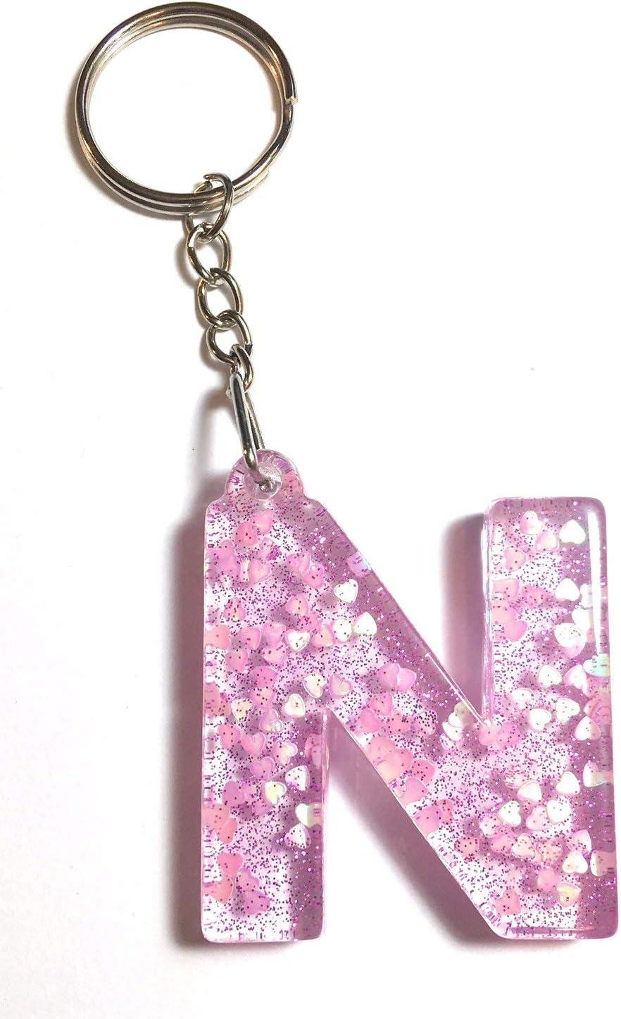 Resin Pink//Gold Glitter Initial Letter Key Rings