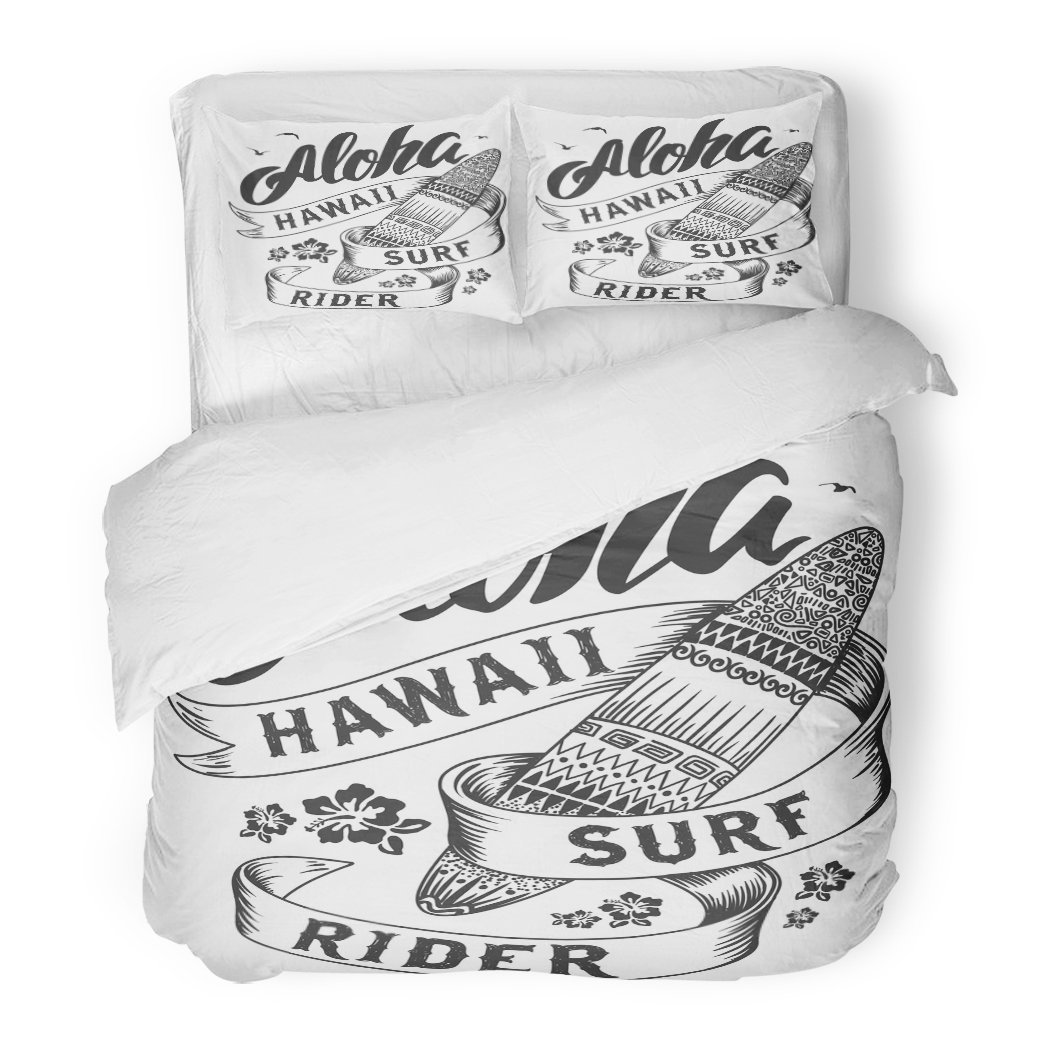 SanChic Duvet Cover Set American Aloha with Surfboard Badge Beach Calligraphic Campus College Decorative Bedding Set with 2 Pillow Shams Full/Queen Size
