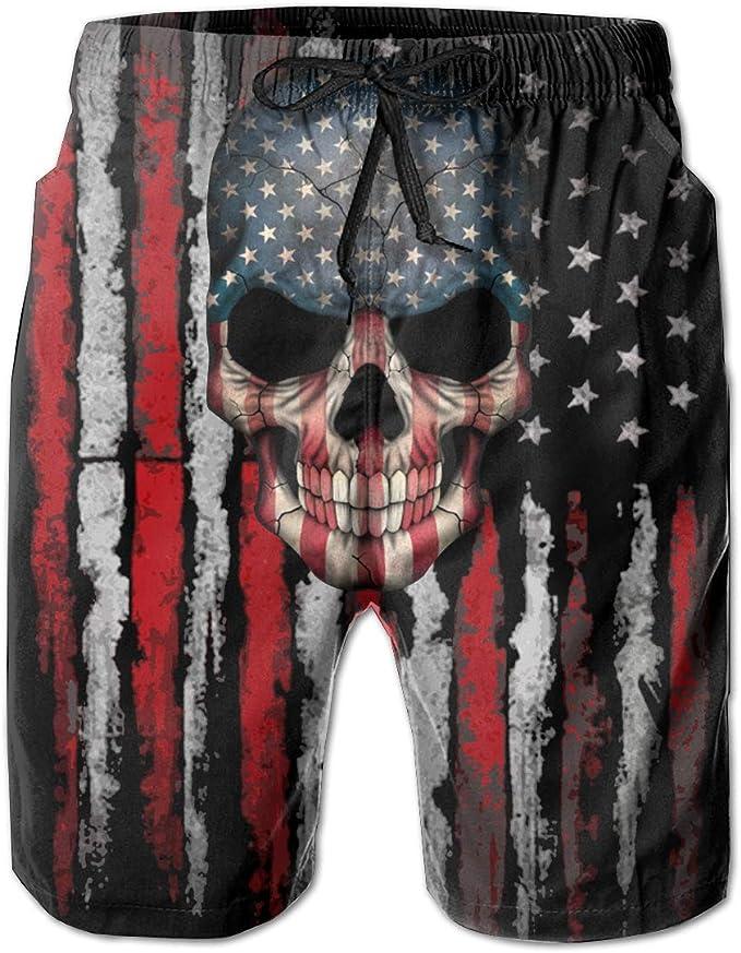 American Flag A-Ssassin C-Reed Teenager Casual Swim Trunks Elastic Waist Sports Shorts Pants Swimming Short
