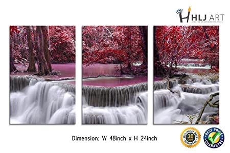 HLJ ART Autumn Red Waterfall Landsacpe Artwork Maple Leaf Canvas Print Ready to Hang for Wall Decor Home Decoration 3 Panels A08, 16x24in