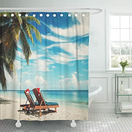 Emvency Shower Curtain Red Travel Christmas On Beach Chair Lounges With Santa Hats At Sea Caribbean