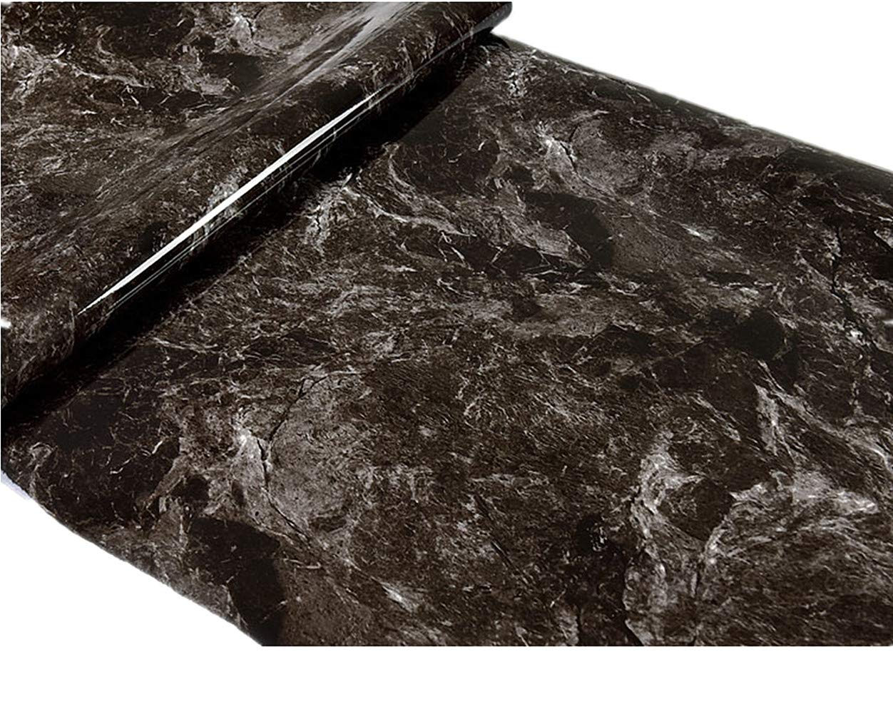 Emoyi Black Brown Granite Look Marble Effect Contact Paper Waterproof Self Adhesive Sticker for Shelf Liners Decor 24''x79''