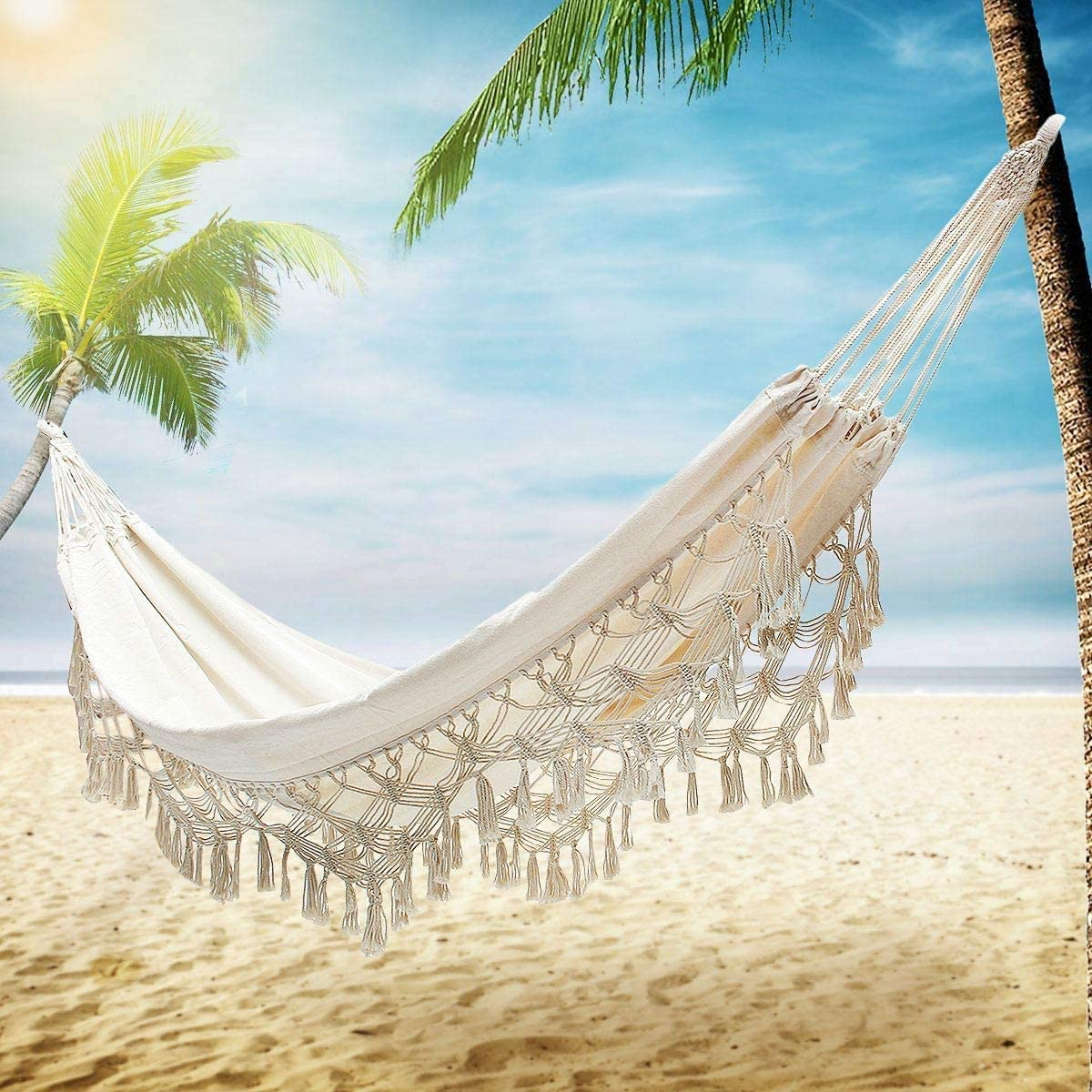 TJ Decoration Boho Large Brazilian Macrame Double Hammock Swing Bed with Carry Bag for Patio,Bedroom, Yard, Beach, Indoor, Outdoor Wedding Party Decor, White Beige Party