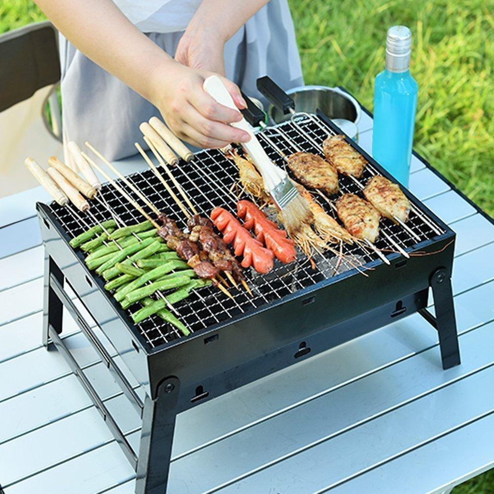 barbecue charbon mini bbq grille de table portable en acier inoxydable pliable ebay. Black Bedroom Furniture Sets. Home Design Ideas
