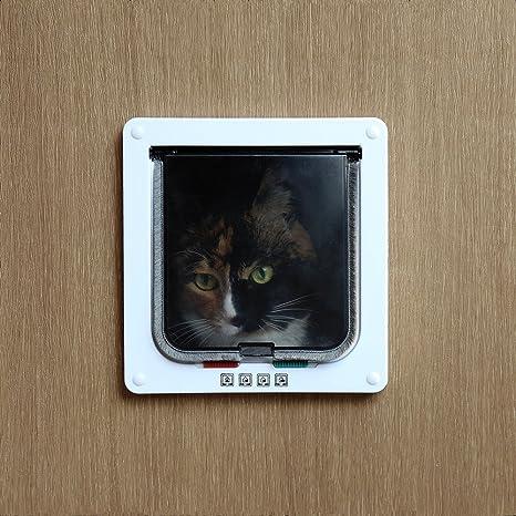 Xefeel 4 Vías de bloqueo Interior/exterior Pet Kit de puerta para gatos y perros