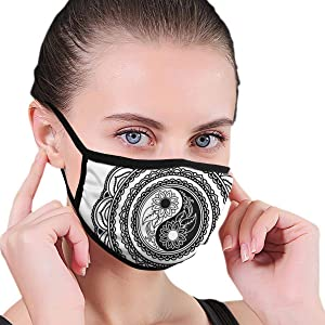 Comfortable Windproof mask,Henna Tattoo Mehndi Style Mandala With Sunflowers And Yin Yang Shape,Printed Facial decorations for Women and Men