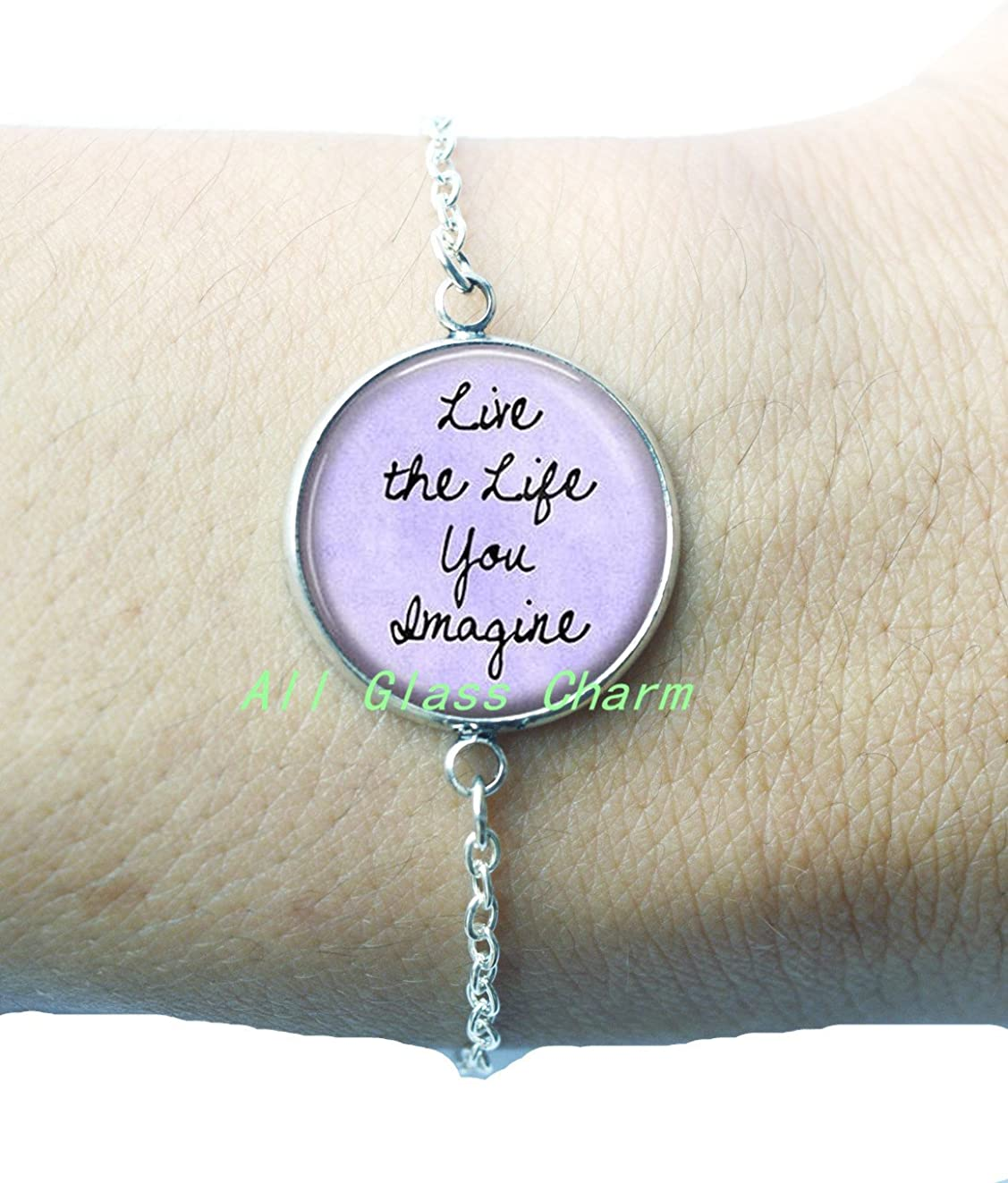 Beautiful Locket Necklace,Inspirational Quote Jewelry Live the Life You Imagine Positive Message Go for it Encouragement,AS0246