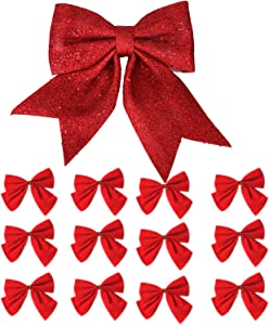 One Large Red Christmas Tree Topper Bow and 12 Christmas Tree Bows Red, 13 ct
