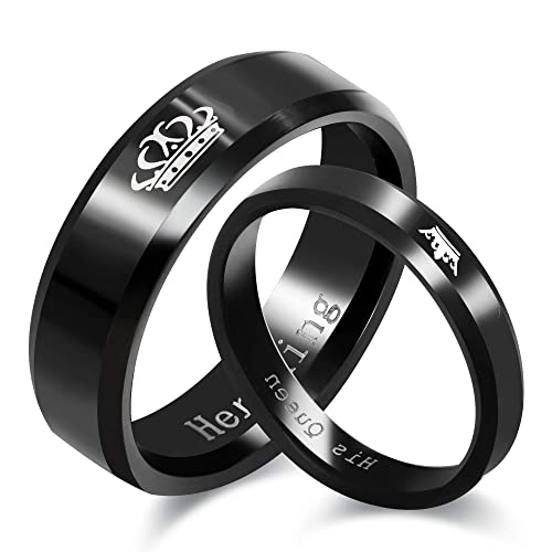 0972aaa0ba Uloveido Black King and Queen Rings for Couples - 2pcs His and Hers  Stainless Steel Matching Ring ...