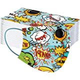 Celendi 50 Pack Disposable Kids Face Masks, Full Protection 3-Ply with Comfortable Elastic Ear Loops, Breathable Non-Woven, C