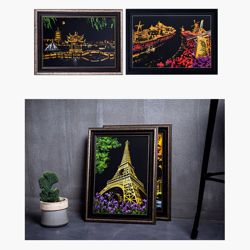 Faironly Creative DIY Scratch Bright City Night View Scraping Painting World Sightseeing Bilder als Geschenk Big Ben in London