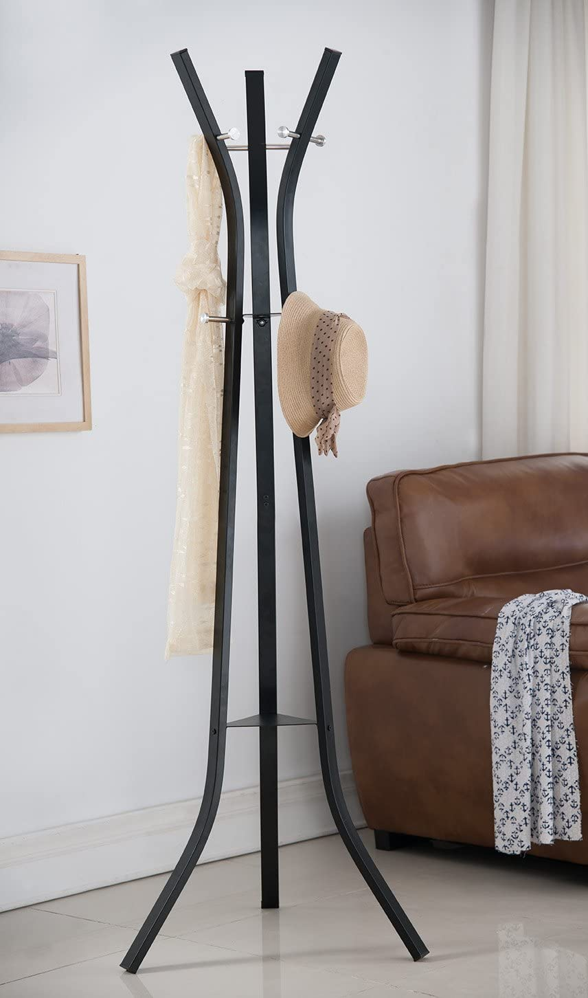 Kings Brand Furniture Contemporary Coat Hat Rack Stand Black