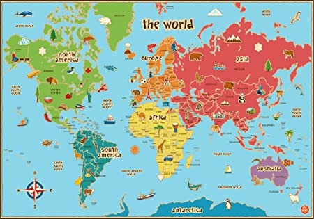 Childrens world map poster a1 a2 a3 a4 education teach geography childrens world map poster a1 a2 a3 a4 education teach geography colourful gumiabroncs Image collections