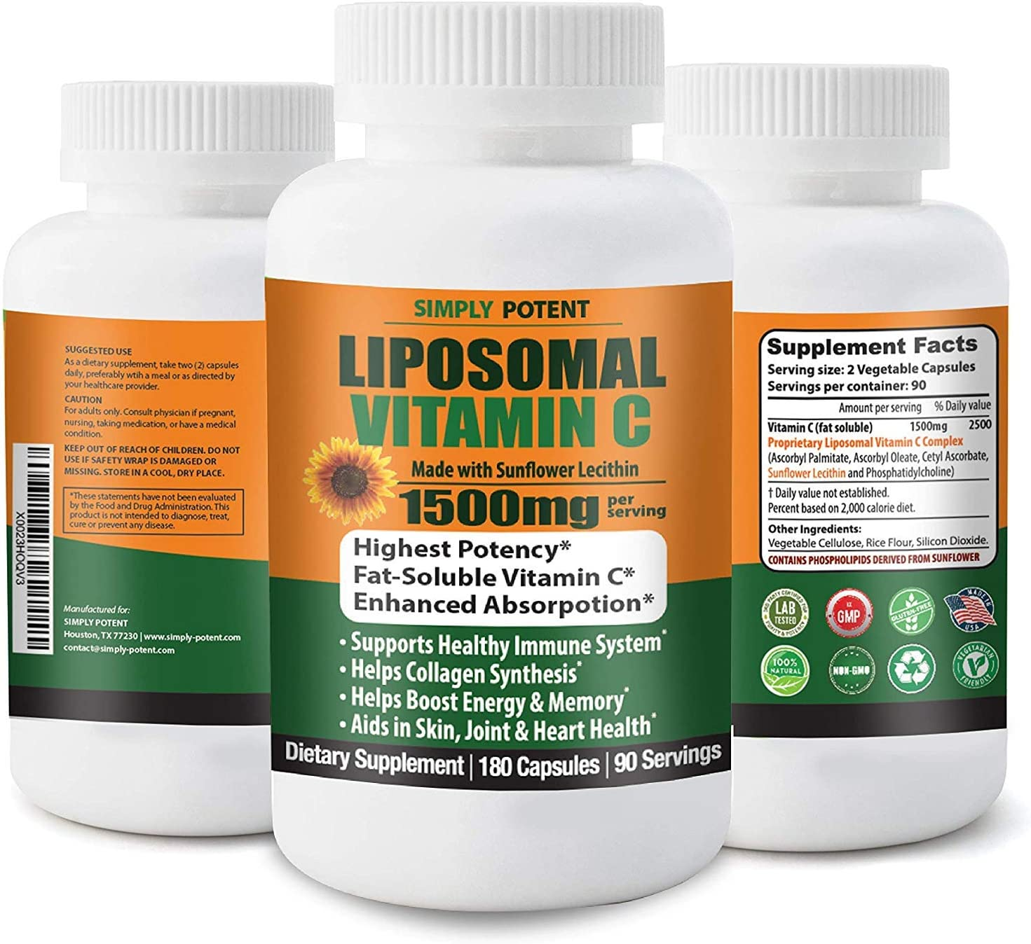 Liposomal Vitamin C 1500mg 180 Capsule 90 Serving Non-GMO Vitamin C Natural Vegan High Absorption & Bioavailable Vitamin C High Dose Fat Soluble Antioxidant for Immune System, Collagen, Skin & Heart